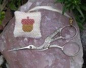 Acorn, Little Cross Stitch Scissor Fob by justjanethings on Etsy $10.00