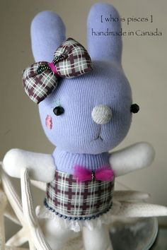 OOAK Easter Sock Bunny with removable headpiece by whoispisces