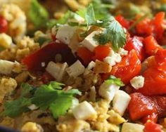 Passover Migas are great for a healthy breakfast or  light dairy dinner. TIDBIT: Combines matzah farfel and fresh veggies.