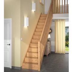 escalier 1 qt primo sapin massif rampe fuseaux droits lapeyre bricolage creation. Black Bedroom Furniture Sets. Home Design Ideas