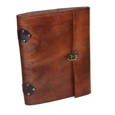 Distressed Brown Steampunk Leather Notebook Journal with Lock and is ...