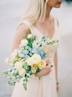 Soft Yellow Blue And Cream Bouquet | Amanda Lenhardt Photography on @acoastalbride via @aislesociety