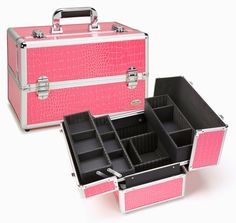Seya Professional Makeup Case w/ 3 Trays - Pink Gator
