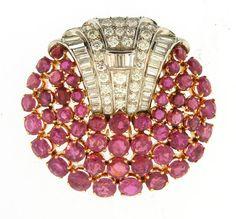 Ruby & Diamond Brooch Art Deco