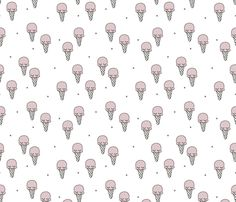 Sweet summer ice cream popsicle sugar pastel pink kawaii illustration fabric  - surface design by Little Smilemakers on Spoonflower - custom fabric and wallpaper inspiration for kids clothes fun fashion and trendy home decorations.