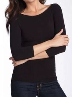 0c0dfd983d SPANX  102 On Top and In Control Elbow Length Scoop Neck Shaping Top Black  3X