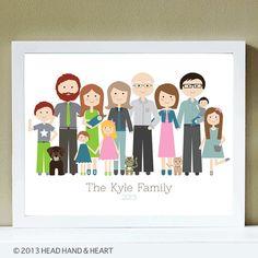 Family Portrait Family Reunion Extended Family por HeadHandHeart, $250.00
