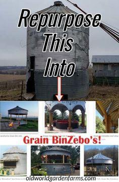 Grain BinZebo - One Cool Outdoor Living Space For The Farm! Turning a Grain Bin into a Grain Binzebo! A cool way to repurpose!Turning a Grain Bin into a Grain Binzebo! A cool way to repurpose! Hot Tub Gazebo, Backyard Gazebo, Backyard Retreat, Recycled Decor, Recycled House, Outdoor Life, Outdoor Gardens, Outdoor Living, Silo House