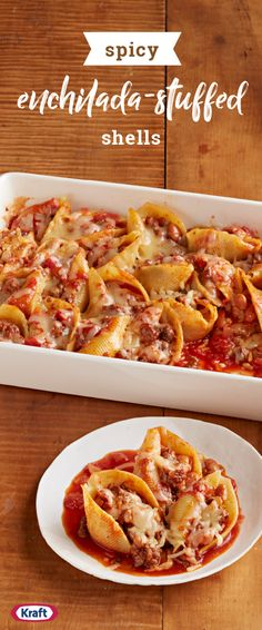 Spicy Enchilada-Stuffed Shells – Explore this delicious recipe for one flavorful cheesy dish you won't be able to wait to add to your dinnertime line up. Fill pasta shells with beef, chorizo, and enchilada sauce to get the flavors going.