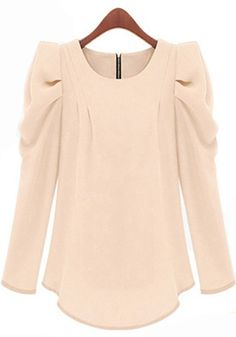 Pink Plain Ruffle Puff Sleeve Loose Blouse - Blouses - Tops