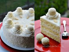 Tort Raffaello,un desert fin si aromat,un adevarat rasfat pentru cei ce iubesc nuca … Krispie Treats, Rice Krispies, Vanilla Cake, Caramel, Sweets, Cheese, Cookies, Healthy, Desserts