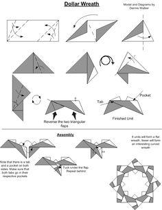 Origami unit wreath