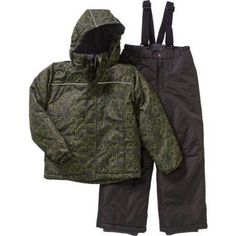 Iceburg Boys' Performance Insulated 2 Piece Snowsuit Jacket and Ski Bib Pants Set, Available in 5 Prints and 10 Colors, Size: 14/16, Black