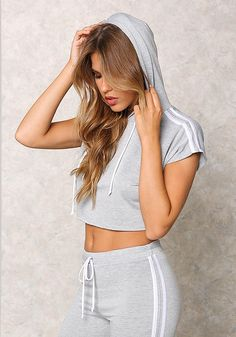 Heather Grey Double Stripe Hoodie Crop Top - $10 and Under Tops - Tops - Clothes - Sale