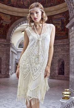 $ 399.95 1920's Vintage Flapper Beaded Fringe Gatsby Wedding Bridal Gown - Cut Out Back - The Icon - Bone - The Deco Haus