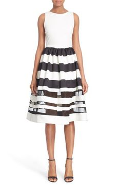 Alice + Olivia 'Larue' Illusion Stripe Fit & Flare Dress available at #Nordstrom