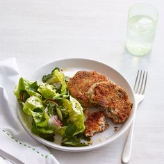 Salmon Cakes with Spring Green Salad
