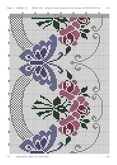 croché e ponto cruz gray color effect - Gray Things Butterfly Cross Stitch, Cross Stitch Rose, Cross Stitch Borders, Cross Stitch Flowers, Cross Stitch Designs, Cross Stitching, Cross Stitch Embroidery, Cross Stitch Patterns, Crochet Bedspread Pattern