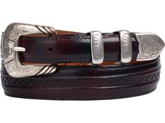 Lucchese Men's Belts | Goat in Black Cherry | Hobby Stitching #LuccheseBelts www.lucchese.com