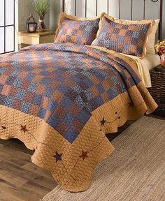 Bedding Set Coordinates Quilted Country Stars Patchwork