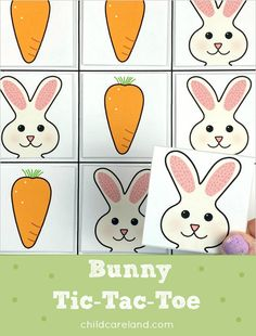 Bunny Tic-Tac-Toe (from Childcareland) Early Learning Activities, Preschool Games, Learning Games, Classroom Activities, Calendar Numbers, Tic Tac Toe Game, Easter Bunny, Kids Playing, Paint Colors