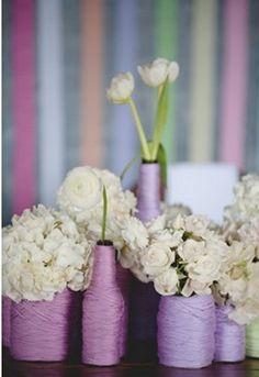 Yarn Bottles as Flower vase