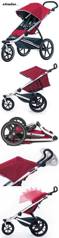 The lightweight Urban Glide stroller and jogger has a pivoting front wheel that turns easily for walking and then locks in place for jogging. The stroller can be folded using one hand and has a seat that reclines for naps. Shock absorbing suspension.