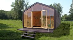 """A Wikkelhouse, meaning """"wrapped house"""" in Dutch, is made with corrugated cardboard, environmentally friendly glue, a protective film and wood cladding."""