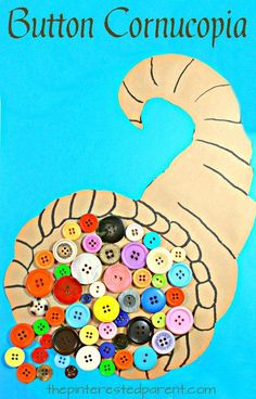Button Cornucopia Thanksgiving Craft – The Pinterested Parent