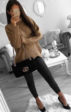 #winter #outfits brown knitted sweater and black fitted pants