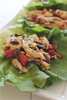 Italian Chicken Salad Lettuce Cups / Bev Cooks