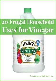 20 Frugal Household Uses for Vinegar - thrifty tips for using vinegar around your home. The uses for vinegar Include cleaning tips and pest deterrent ideas.