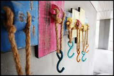 COASTAL BREEZES: Funky hooks for drying wet towels and bathing suits after a fun day at the beach.