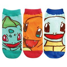 Pokemon starter socks. Bulbasaur, Charmander and Squirtle. These are the cutest socks I've seen!