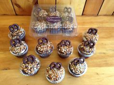 Chocolate salted caramel pretzel cupcakes- chocolate cake with salted caramel frosting;chocolate ganache; crushed pretzel topping and caramel drizzle.