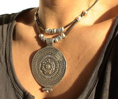 tribal brown leather necklace with silver beads