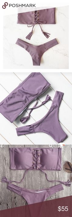 Purple tie up strapless bandeau cheeky bikini set Sexy purple bandage bandeau strapless tie up bikini set. Cheeky and Brazilian. Sizes small and medium in stock. Runs slightly small. Light removable pads. Lined. Never been worn. Also available in maroon and light baby blue. Marked acacia swimwear Frankie's bikinis mikoh nasty gal misguided for visibility, but it's from a boutique. acacia swimwear Swim Bikinis