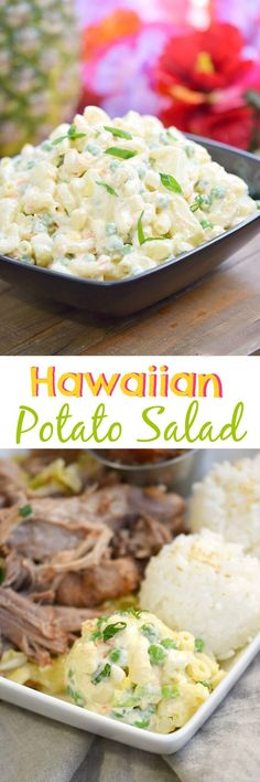 hawaiian food recipes You can't have a luau or bento lunch without a scoop of this traditional Hawaiian Potato Salad on the side! Hawaiian Potato Salad Recipe, Potato Salad With Egg, Slider Buns, Brunch, Hawaiian Dishes, Hawaiian Recipes, Hawaiian Appetizers, Hawaiian Luau, Chefs