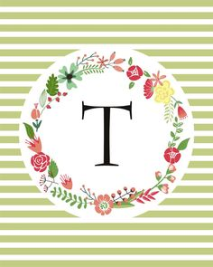 Name Initial Printable Floral Wreath & Stripes by FebruaryLane