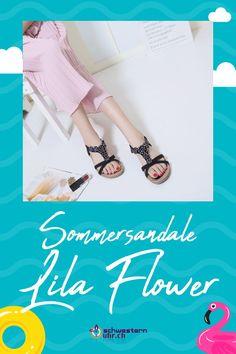 Sommersandale Lila Flower mit dekorativen Perlen für Damen ☀💦  Sommerliche Sandale mit weichem Gel-Fussbett ohne Zehentrenner. Dank dem   elastischen Fersenband sehr angenehm auf der Haut zu tragen. Wie auf Wolken schweben!  Jetzt online bei schwesternuhr.ch bestellen - Ohne Versandkosten! Schweizer Unternehmen.  #schwesternuhrch #schwesternuhr #schwesternschuhe #sandalen #sommersandalen #sommer Fashion, Calamari, Beautiful Sandals, Comfortable Sandals, Comfortable Shoes, Hiking Supplies, Levitate, News, Business