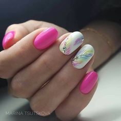 UV-LED combination device, nail accessories - nail art - starter set - UV gel kit - Beautiful Pastel Feather Nail Art With Crystal Accents - Stylish Nails, Trendy Nails, Nail Designs Spring, Nail Art Designs, Nails Design, Latest Nail Designs, Pedicure Designs, Design Design, Design Ideas