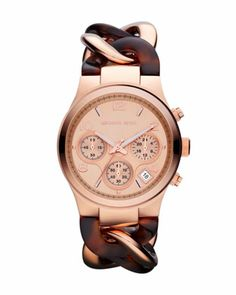 MICHAEL Michael Kors  Mid-Size Rose Golden/Horn Acetate Runway Twist Watch.