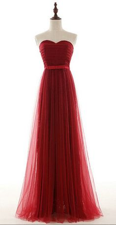 Red Strapless Sweetheart Tulle Long Prom Dress