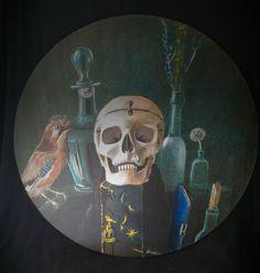 Dipinto su tavola Vanitas Memento Mori tempera paints canvas skull teschio in Arte e antiquariato, Quadri, Tempera | eBay