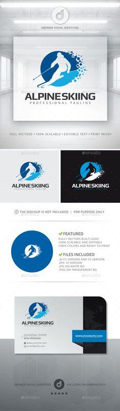 Alpine Skiing Logo Design Template Vector #logotype Download it here: http://graphicriver.net/item/alpine-skiing-logo/13079662?s_rank=1795?ref=nexion