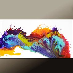Abstract Canvas Art Painting  48x24 Original Wall art by wostudios
