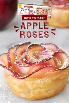 Impress your guests with a puff pastry dessert as delicious as it is beautiful using this Apple Roses recipe by Manuela of Cooking with Manuela. Perfect for your fresh-picked apples during the fall, a stunning Thanksgiving dessert, or holiday brunch Pecan Desserts, Puff Pastry Desserts, Puff Pastry Recipes, Puff Pastry Apple Roses, Mini Desserts, Baked Apple Roses, Apple Rose Tart, Tea Party Desserts, Puff Pastry Appetizers