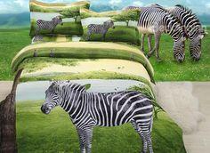 Unique Stylish #Zebra on Plain 4-Piece Polyester Duvet Cover Sets #3d #bedroom #bedding