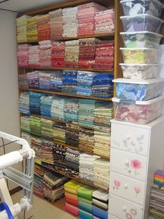 Sewing Fabric Storage How to organize and fold your fabric stash (and great photos to drool over!) @ Do It Yourself Remodeling Ideas Sewing Room Storage, Sewing Room Organization, My Sewing Room, Craft Room Storage, Fabric Storage, Sewing Rooms, Craft Rooms, Organizing, Fabric Boxes