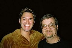 Andy Hallett, who played Lorne on Angel, without makeup, with a fan. RIP 1975-2009